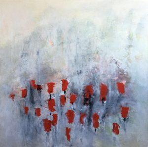 titolo del quadro Tulips tecnica acrilico e gesso su tela